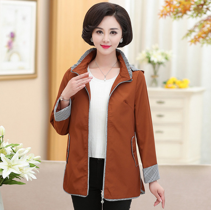 jacket for women outwear 2018 spring autumn new plus size middle age mother zipper hooded casual coat casaco feminino