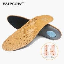 VAIPCOW Высокое качество кожа ортопедические стельки для плоская подошва супинатор ортопедический обувь pad силиконовые для мужчин и женщин