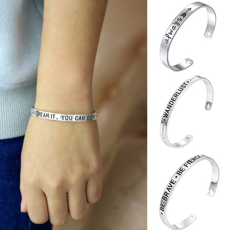 JEPHNE Silver Plated Cuff Bangle Inspirational Quote Bangle Bracelet Always Wanderlust Be Brave You can Dream it Women Men Gifts
