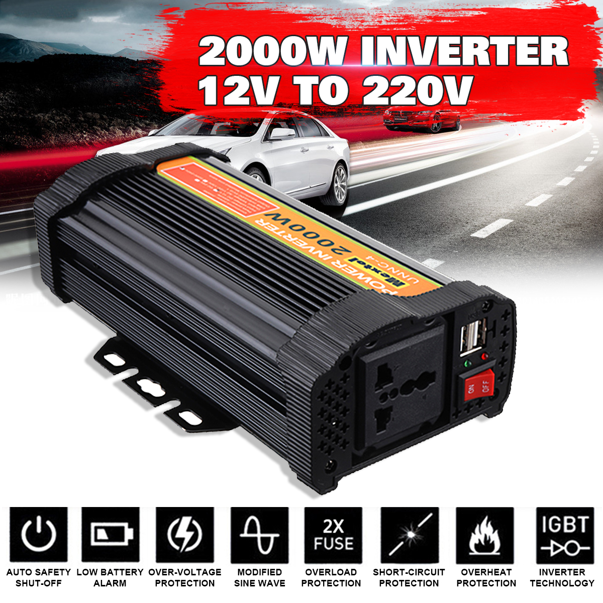 Power Inverter Max 4000 Watts 2000W DC 12 V to AC 220 V Volt Car Adapter Charge Converter Modified Sine Wave USB Transformer