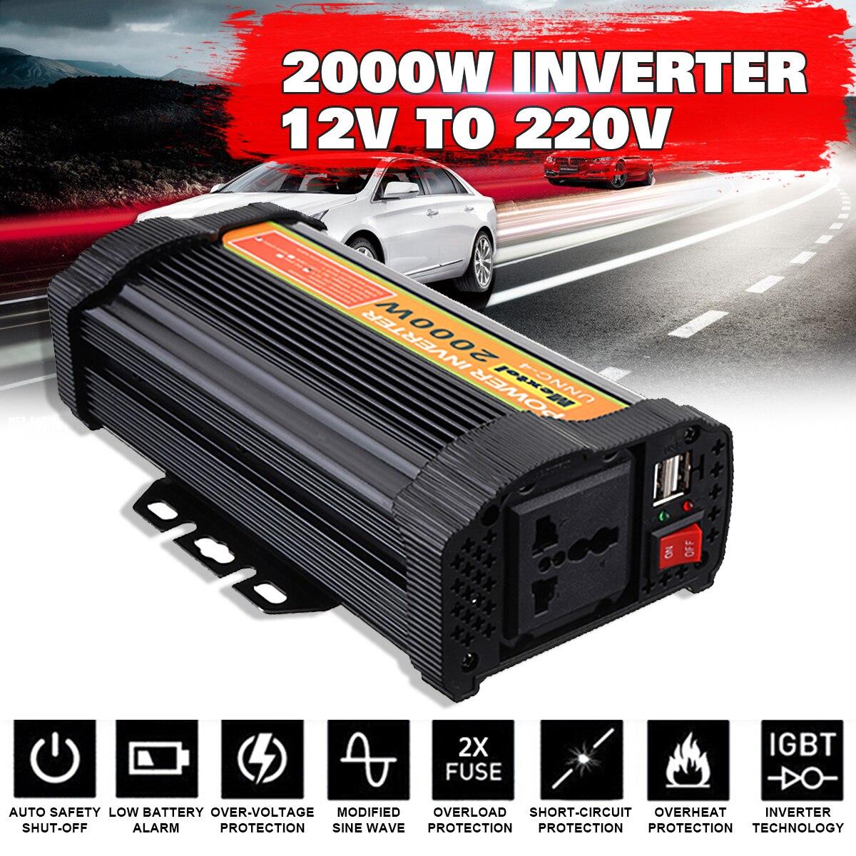Onduleur Max 4000 Watts 2000 W DC 12 V à AC 220 V volts adaptateur de voiture convertisseur de Charge onde sinusoïdale modifiée transformateur USB
