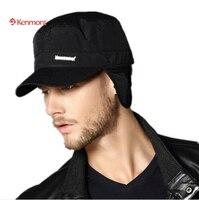Kenmont الشتاء الخريف البولياميد earflap قبعة البيسبول قبعات الرجال الذكور السود العسكرية تعديل حجم 2205