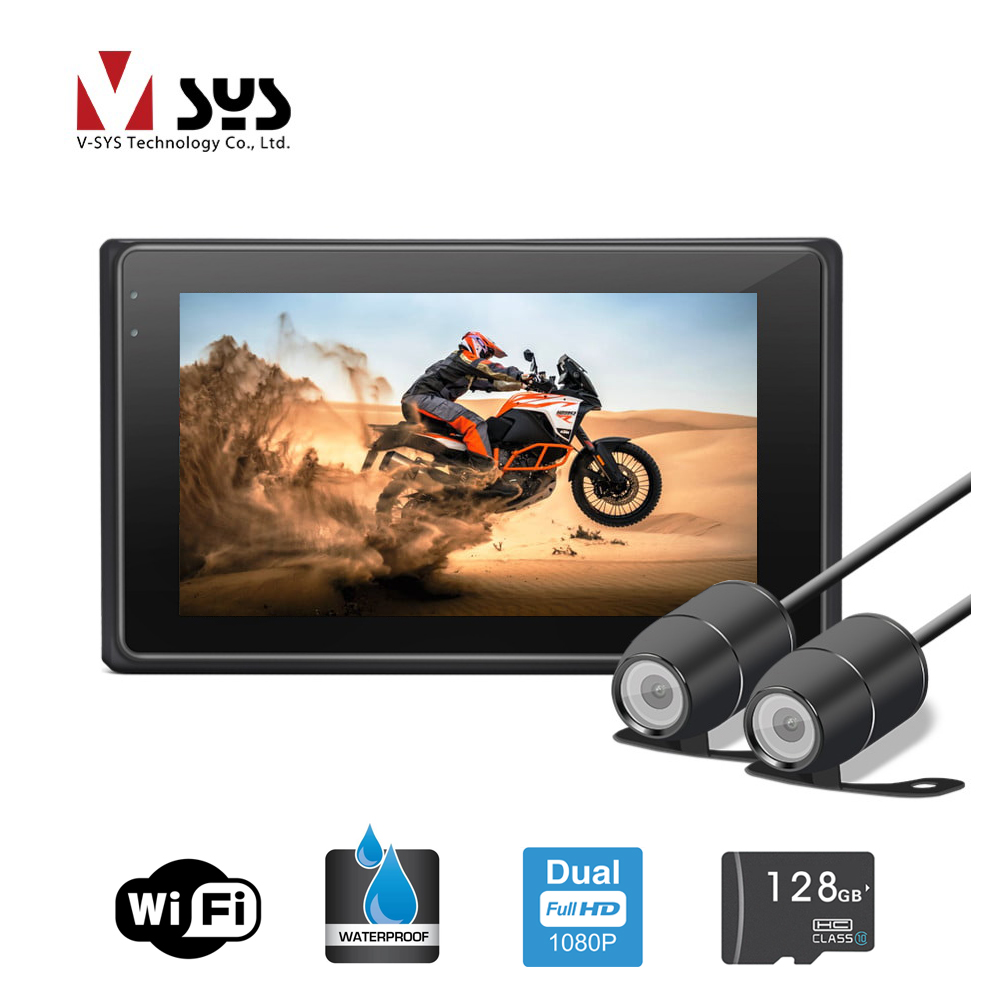 Vsys 3 0 M2F WiFi Motorcycle DVR Dual 1080P Full HD Dash Camera with Waterproof Box