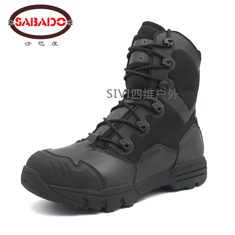 2017 Winter leather Waterproof desert boots,rubber Camouflage dupont CARDURA Leather Hiking military shoes tactical boots men