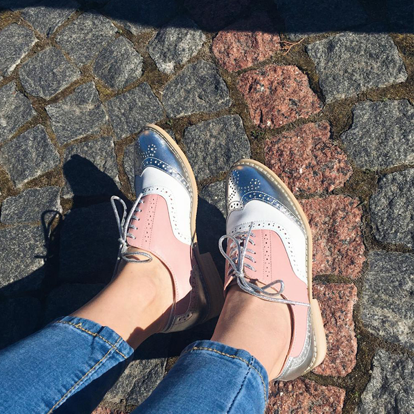 Women Genuine leather flat oxford shoes designer vintage handmade pink silver oxfords shoes for women sneakers genuine leather woman size 9 designer yinzo vintage flat shoes round toe handmade black grey oxford shoes for women 2017