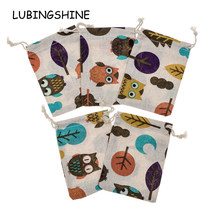 LUBINGSHINE 5 pcs/lot Cotton Ethnic Gift Jewelry Bags Strap Drawstring Candy Pouches Wholesale Jewellery Packaging 10 *14 cm(China)