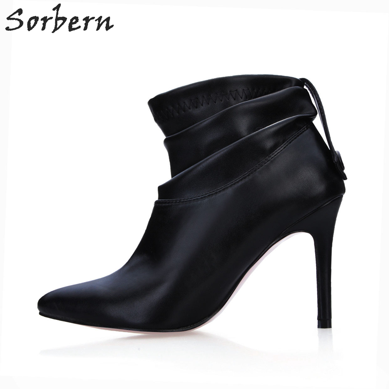Sorbern Black Soft Pu Custom Ankle Boots For Women Warm Winter Shoes Ladies High Heel Pointed Toe Button Back Size 42