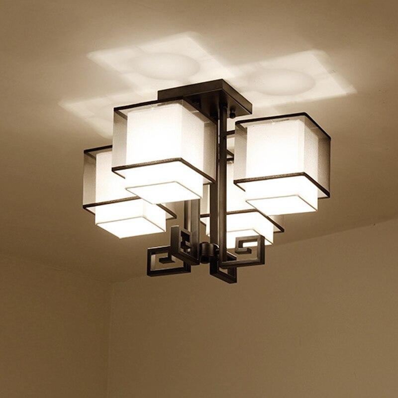 Dia54cm Moderne Schwarzem Stoff Lampenschirm Deckenleuchte Vintage Metall Unterputz Lampe Wohnzimmer Schlafzimmer Leuchten Bele