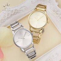 New SK Fashion Casual Quartz Women Watches Stainless Steel Girl Dress Watch Women Golden Ladies Watch