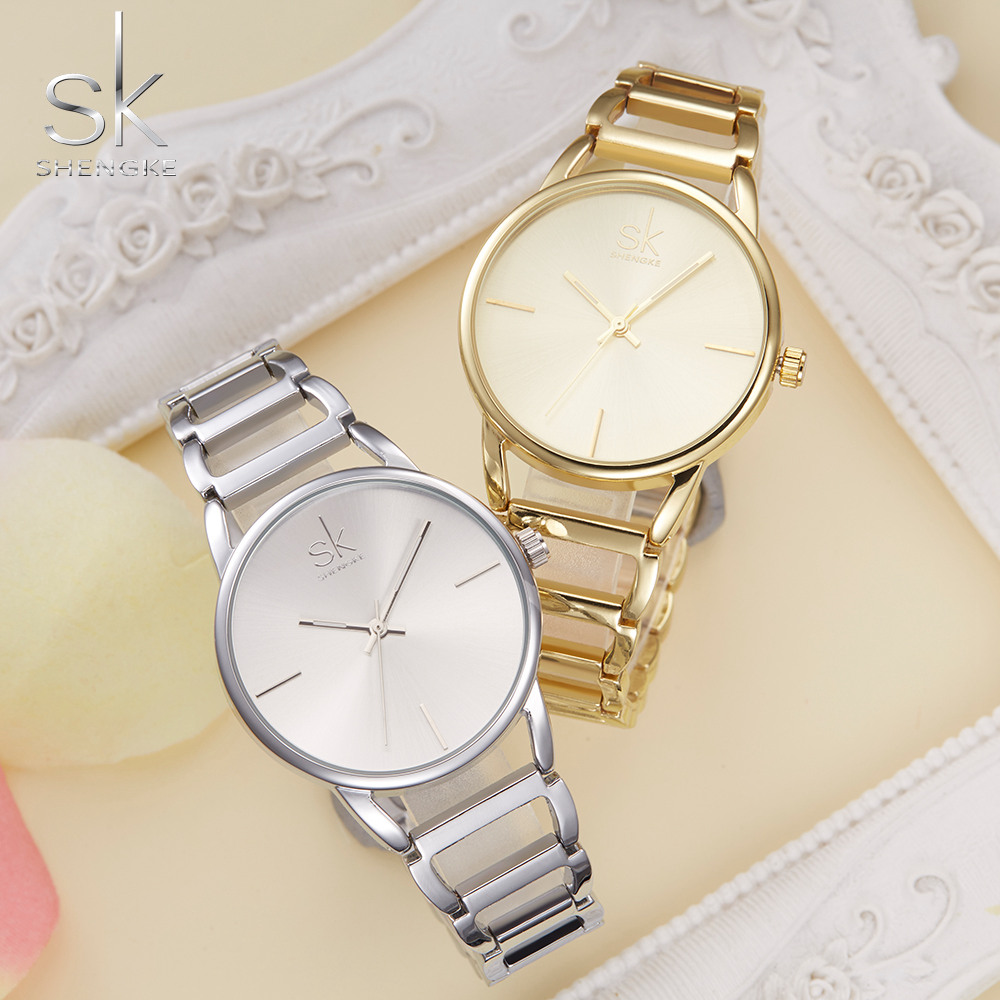 SK Fashion Casual Quartz Women Watches Stainless Steel Girl Dress Watch Women Golden Ladies Wrist Watches Relogio Feminino xfcs chenxi fashion luxury quartz watch women dress stainless steel strap waterproof business casual ladies watches relogio feminino