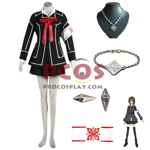 Best Vampire Knight Cross Yuki Cosplay Costume Black Uniform & Necklace mp000768