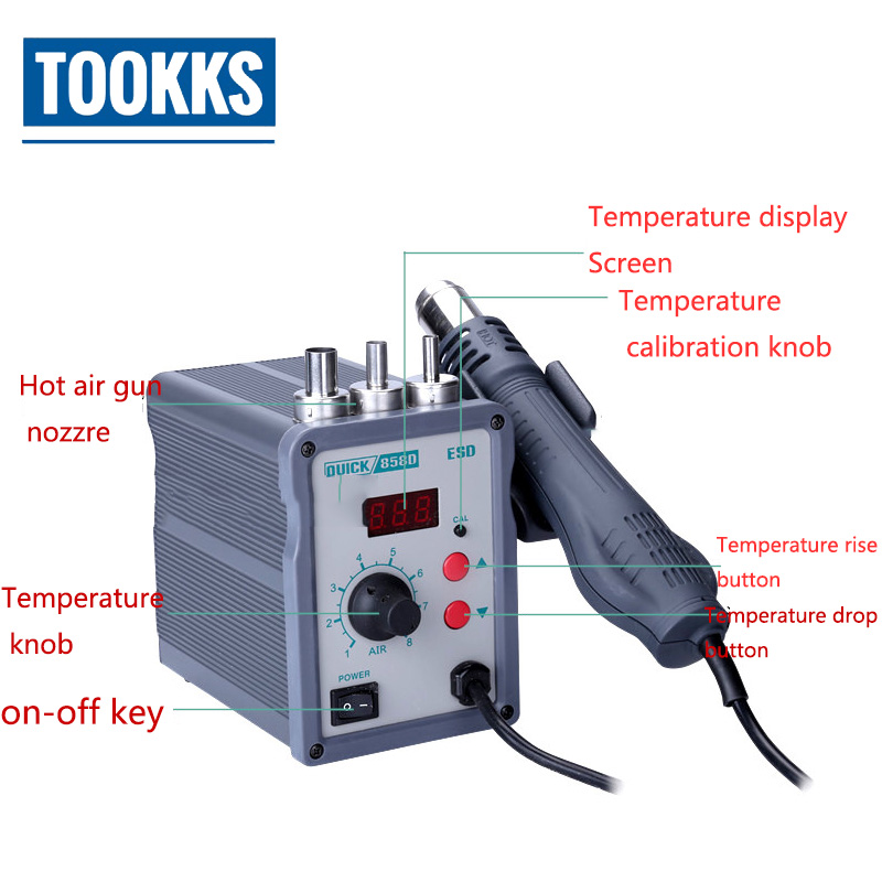 цена на QUICK 858D Lead Free Hot Air Heat Gun LED Digital Constant Temperature Control Hot Air Gun For SMD Rework Station