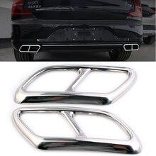 Автомобильный Стайлинг для Volvo S90 V90 Автомобильный задний двойной выхлопной конец наклейки на трубу крышка аксессуары 2 шт
