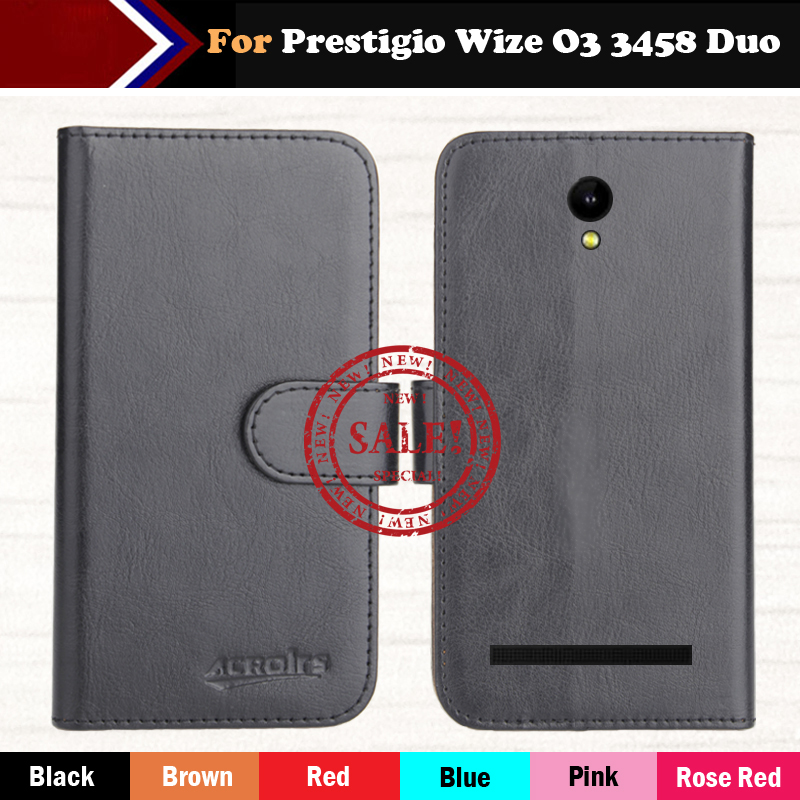 Hot!!In Stock Prestigio Wize O3 3458 Duo Case 6 Colors Leather Exclusive For Phone Cover+Tracking