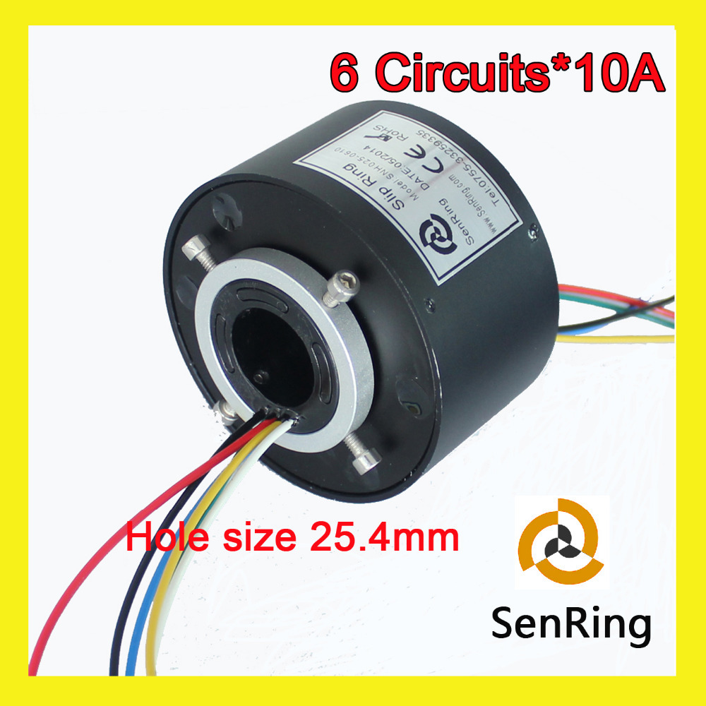 6 circuits 10A conductive slip ring 25.4mm bore size for through hole slip ring from SENRING shenzhen manufactory