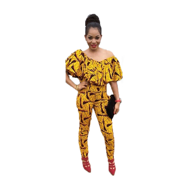 2017 new arrival off the shoulder top Sexy One - Shirt horizontal neck bright Printed pants Set hot sales long jumpsuit CM9547