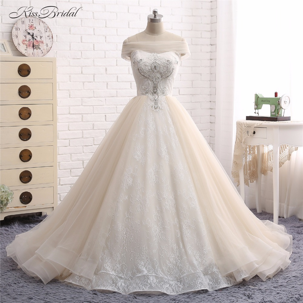 Wedding Dresses with Overskirt Vestido de Noiva 2017 A Line Strapless Beaded Lace Tulle Bridal Gown Robe de Mariee