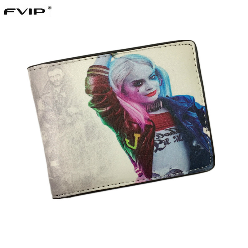 FVIP Movie Suicide Squad Wallet The Joker Harley Quinn DC Comics Bifold Men Women Wallets With Card Holder Purse Billeteras fvip high quality short wallet harry potter game of thrones suicide squad wonder women tokyo ghoul men s wallets women purse