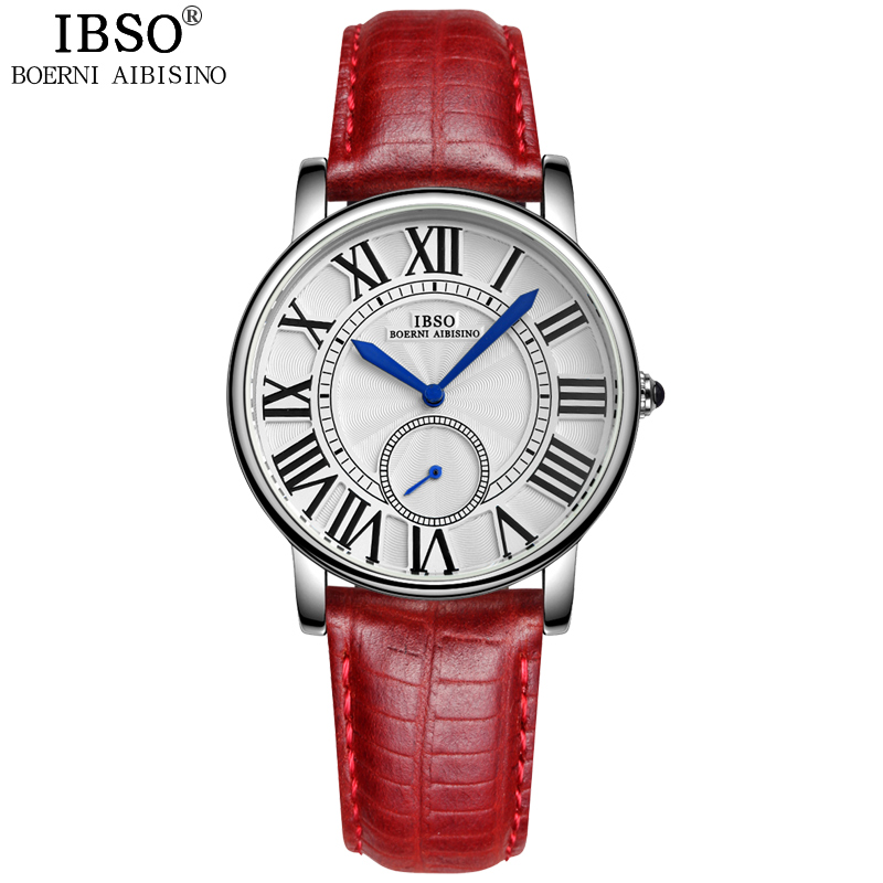 IBSO Brand Seconds Display Women Watches 2018 Genuine Leather Strap Fashion Quartz Watch Woman Waterproof Montre Femme ibso top brand fashion red watch women genuine leather band women watches 2017 analog quartz wristwatch waterproof montre femme