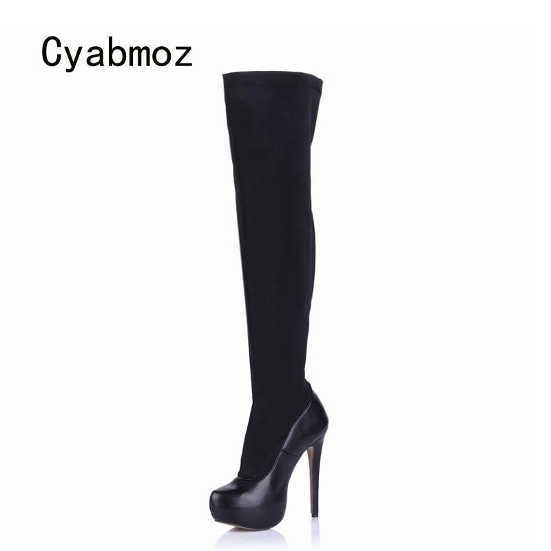 Cyabmoz New Women Winter Snow Platform Boots Shoes Woman Zapatillas Botas Zapatos Mujer Over Knee High Heels Ladies Party Shoes