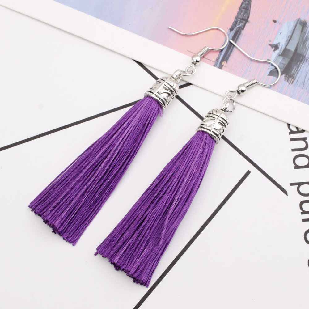 Vintage Earring For Women Bohemia Long Tassel Drop Dangle Earrings Red White Green Purple Silk Fabric Earings Ethnic JewelryTA01