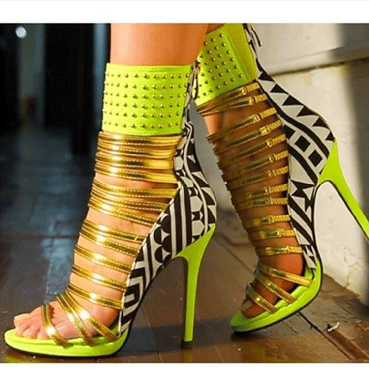 Mixed Colors Metal Decoration Strappy Sandals Cut-out Peep Toe High Heels Women Dress Shoes Rivets Ankle Strap Sandals red patent leather strappy sandals cut out ankle strap buckle high heel shoes peep toe cage shoes women summer dress shoes