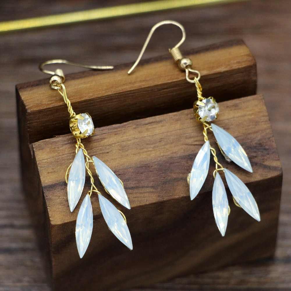 Luxe opale cristal fleur bandeaux boucles d'oreilles pour les femmes mariage mariée cheveux bijoux fête or casque feuilles couronne tiare ML156