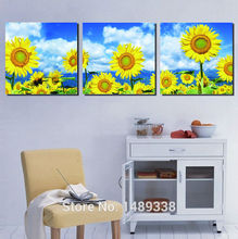 High-quality  home decoration Printed On Canvas Sunflower oil painting 3pcs/set wall decor landscaping paintings framed GAZ235