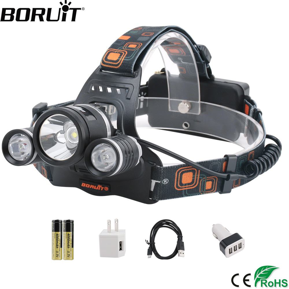 BORUiT RJ-3001 8000lumens XM-L2 R5 LED Headlamp 4-Mode Rechargeable Headlight Fishing Flashlight By 18650 Battery