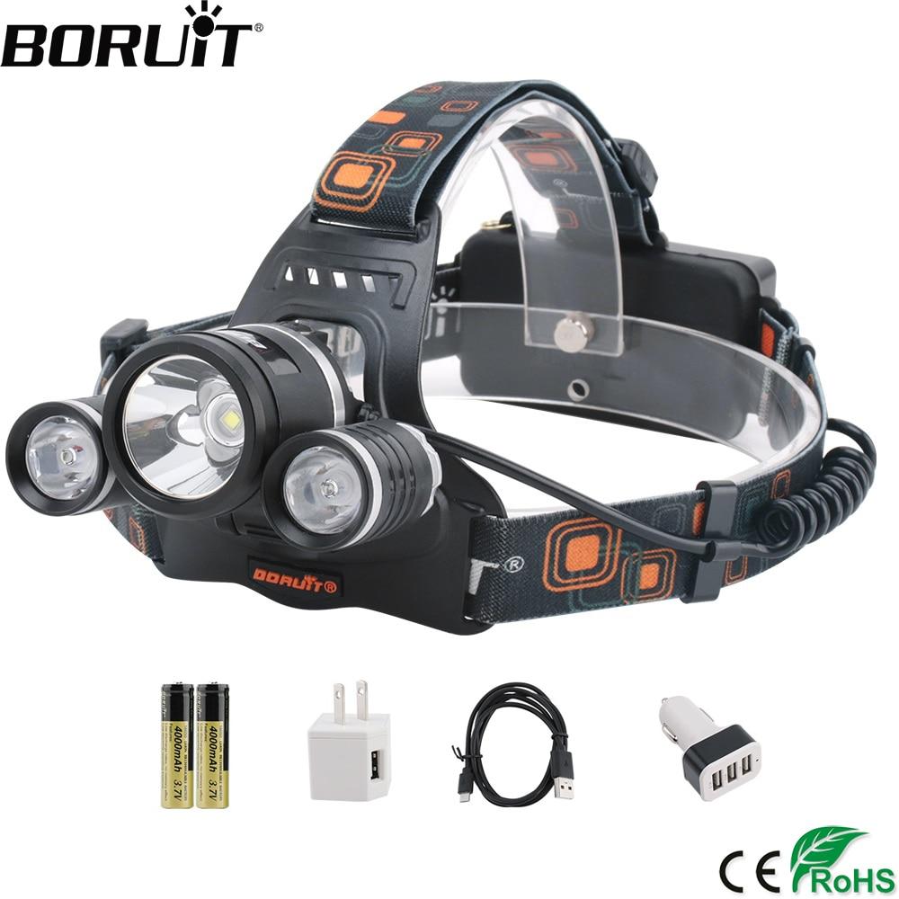 BORUiT RJ-3001 8000lumens XM-L2 R5 LED Headlamp 4-Mode Rechargeable Headlight Fishing Flashlight By 18650 Battery