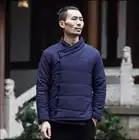M 3xl Winter Chinese Stijl Katoen Gewatteerde Jassen Mannen Mode Toevallige Gesp Jas Jonge Retro Dikker Katoenen Jas Linnen Kleding - 2