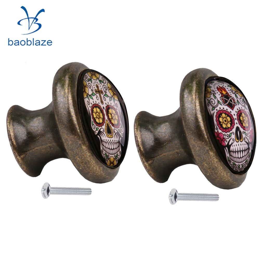 2pcs Skull Pattern Vintage Metal Door Knob Cupboard Cabinet Bin Drawer Dresser Pulls Handle Knob Furniture Hardware #7 2pcs set stainless steel 90 degree self closing cabinet closet door hinges home roomfurniture hardware accessories supply