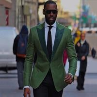Custom Green Men Suit Slim Fit Street Casual Business Male Blazer With Black Pants 2 Pieces Wedding Suits For Men Best Man Suits