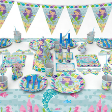 1pack little Mermaid theme disposable birthday party paper cup plate loot bag napkin straw blowout card hat mask fork tablecloth