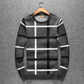 Autumn and winter men's sweater thick pullovers, slim knitting shirt Men's O-neck plaid printed high quality wool sweaters
