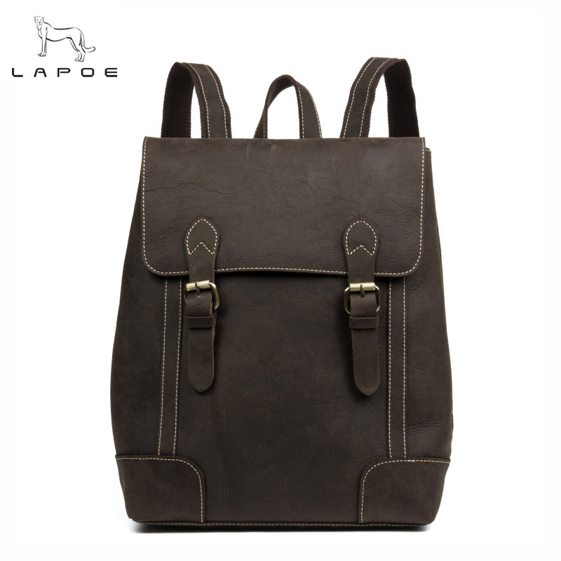 LAPOE Crazy Horse Cowhide Men Backpack Genuine Leather Vintage Daypack Travel Casual School Book Bags Brand Male Laptop Bags new arrival 2016 classic vintage men backpack crazy horse genuine leather men bag travel cowhide backpacks school bags li 1320