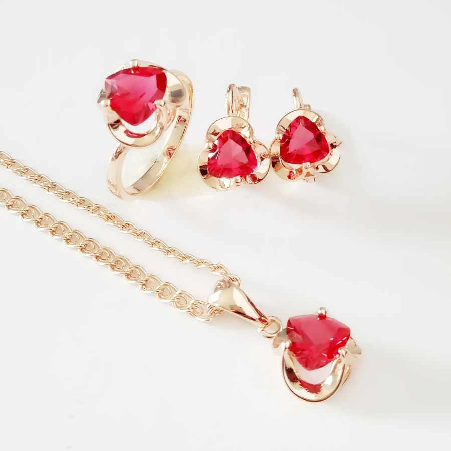 Engagement Jewelry Sets Office Style Rose 585 Gold Color Women Jewelry Red Cubic Zirconia Necklace/Ring/Earring Sets