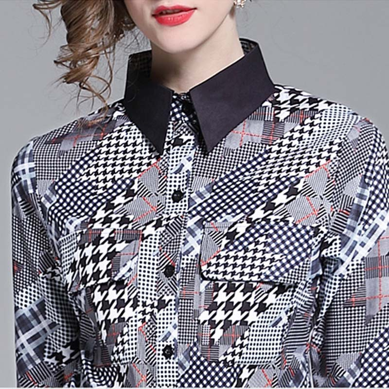 Elegant Women Casual Blouse Luxury Design Runway Top 2019 Summer New Geometric Elements Print Shirt