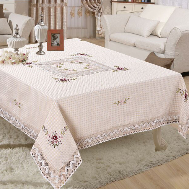 Handmade Embroided Floral Weave Tablecloth Square Table Cloth For Wedding  Party Table Covers Home Decoration 150