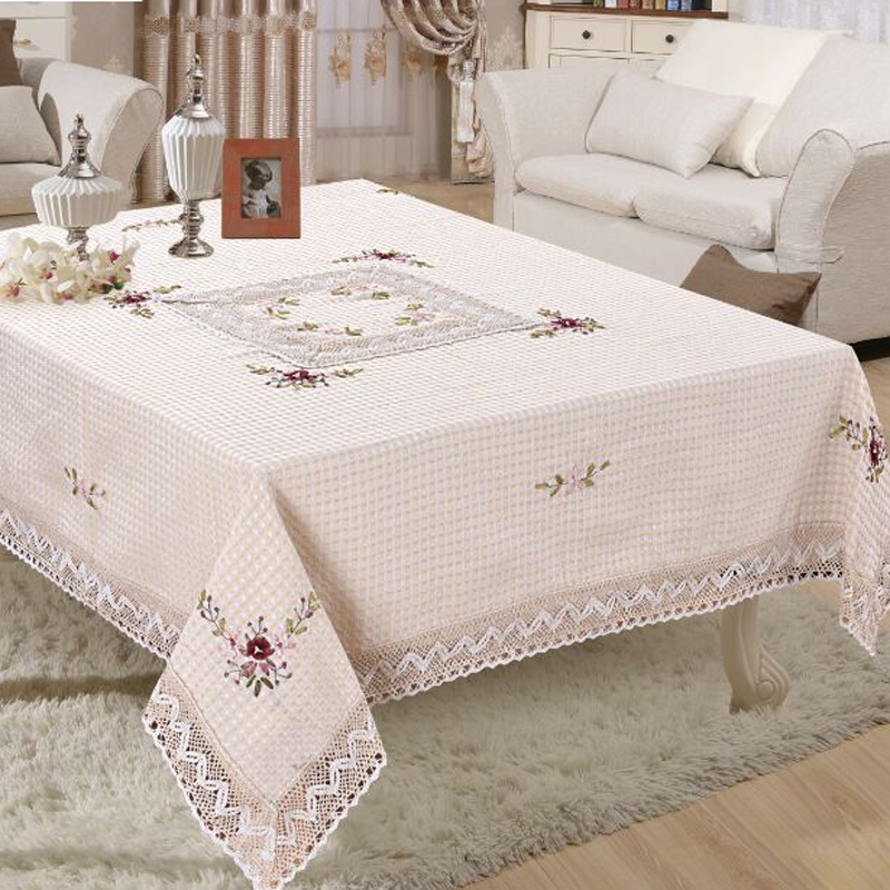 Order: 1 Piece. Handmade Embroided Floral Weave Tablecloth Square Table  Cloth For Wedding Party Table Covers Home Decoration 150