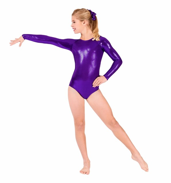 SPEERISE Girls Shiny Metallic Long Sleeve Leotards Gymnastics Spandex One-piece  Leotards Bodysuit Ballet Dance Costumes Kids 49c7b2651