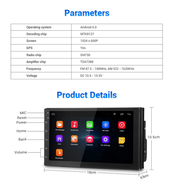 Universal GPS Navigation WiFi Car Radio MP5 Player for VW Toyota Android USB Audio Multimedia Players Bluetooth FM AM TPMS DVR