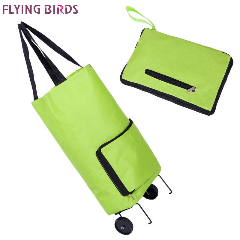 FLYING BIRDS Fold Travel Bag Ultra-light Luggage Travel Bag Women Big Capacity Universal Wheel Retractable Folding Tug Box A3463