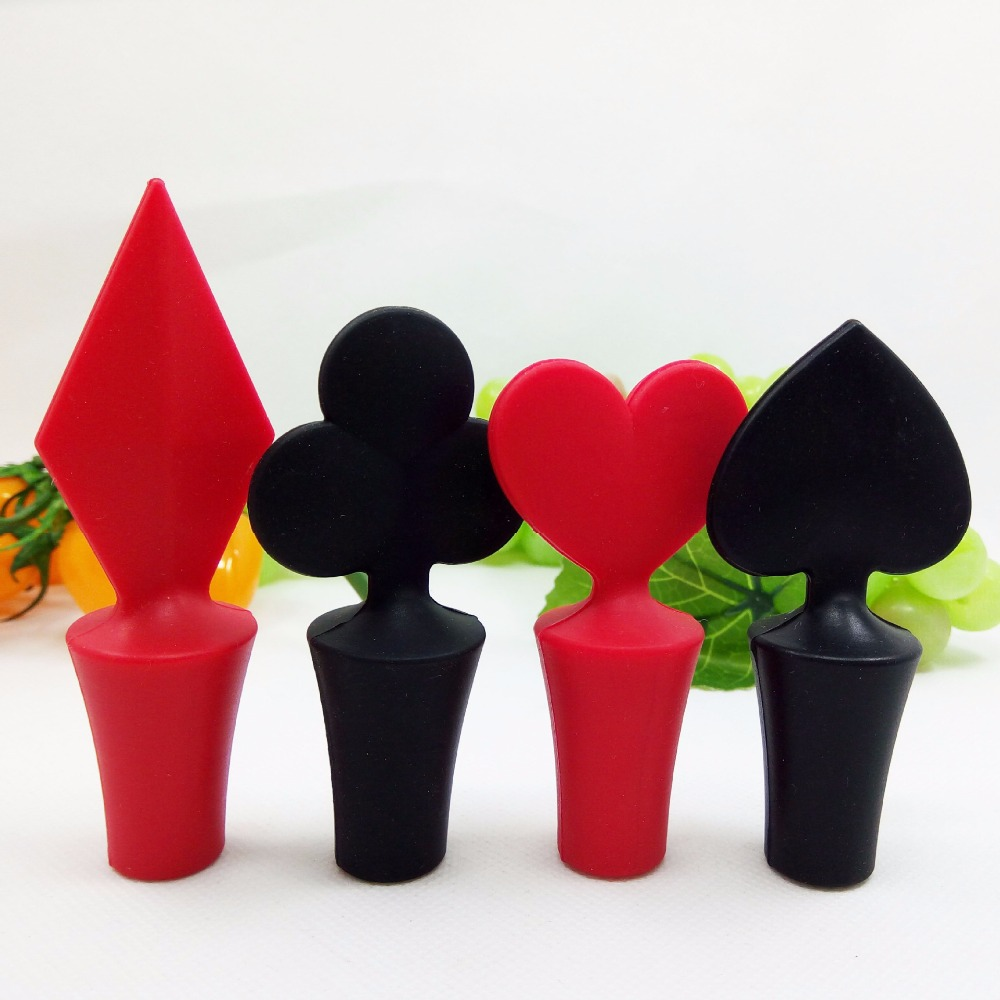 1Pcs Hot Selling Black Red Color Bar Tool Poker Shaped Silicone Vacuum Sealed Wine Bottle Stopper F2320