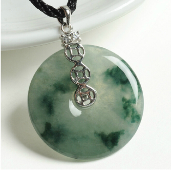 100% Natural A Grade Jadeite Carved Coin Round Circle Pendant
