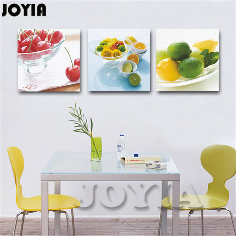 Modern Home Decor Kitchen Decorative Canvas Fruit Lemon Cherry Prints Painting Realist Still Life Art for Dining Room Decoration