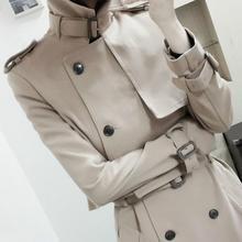 Женский Тренч с двумя пуговицами, Женская длинная Классическая ветровка, Тренч, Весенняя Осенняя верхняя одежда, топ+ платье, женское модное пальто