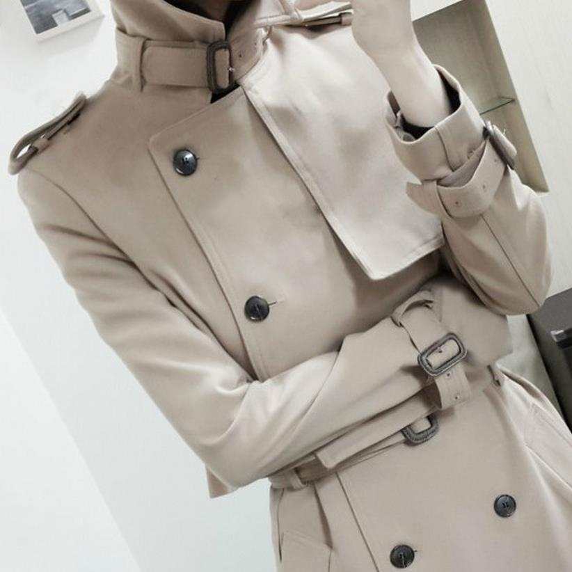 Womens Double Button Trench Womens Long Classic Windbreaker Trench Coat Spring Autumn Outwear top + dress Lady Fashion Coat