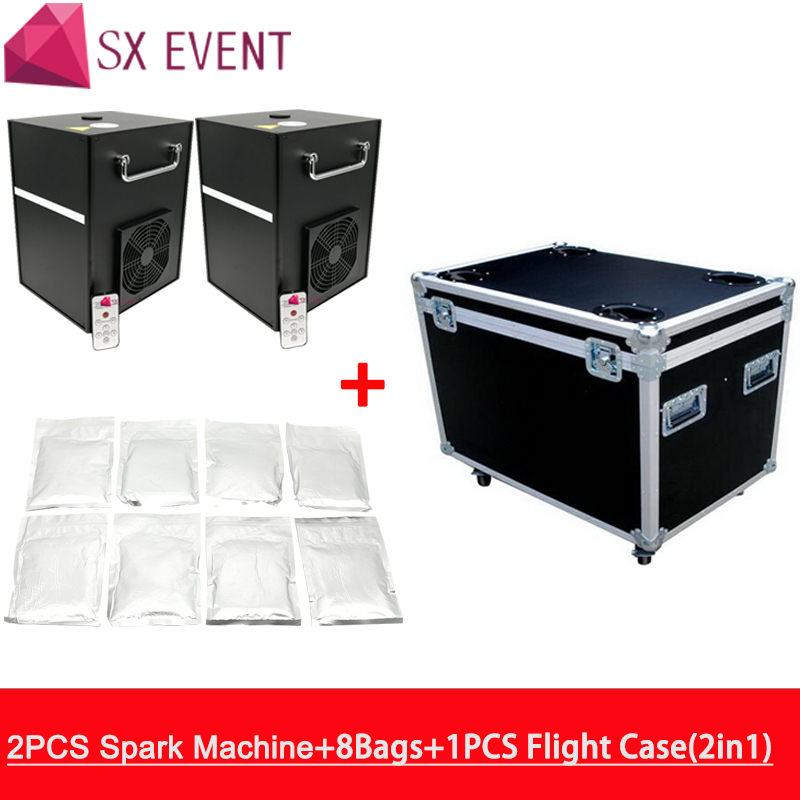 2 Machines with flycase and 8 bags powder Wireless DMX Electric Cold Spark Fireworks Remote Control Cold Flame Wedding Machine 2 Machines with flycase and 8 bags powder Wireless DMX Electric Cold Spark Fireworks Remote Control Cold Flame Wedding Machine