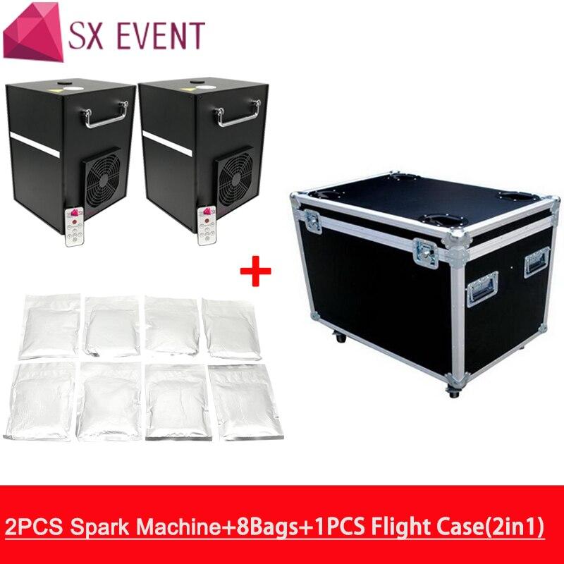 Máquinas com flycase e 8 2 sacos de pó Frio Vela de Fogo De Artifício DMX Sem Fio Elétrico de Controle Remoto Chama Fria Máquina De Casamento